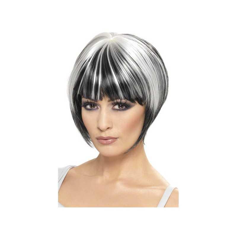 perruque cheveux noirs avec des m ches blanches. Black Bedroom Furniture Sets. Home Design Ideas