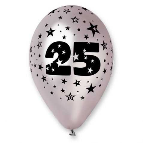 Ballons 25 ans de mariage ballons noces d 39 argent ballon argent chiffre 25 - Noce de 8 ans ...