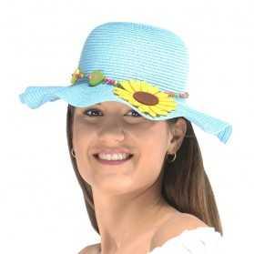 Capeline Bleue avec Fleur en détail chic
