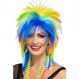 Perruque de Punk avec cheveux de toutes les couleurs