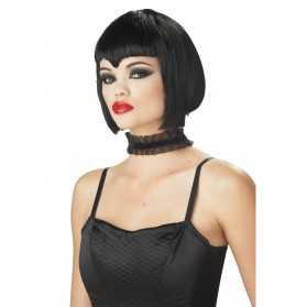 Perruque cheveux noirs de Vampiresse séductrice