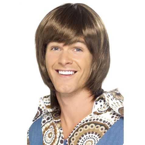 Perruque cheveux bruns Idole des Années 70