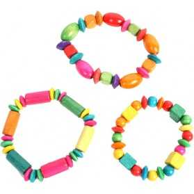 1 Bracelet de Perles en bois multicolores
