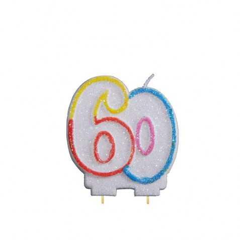 Bougie anniversaire 60 ans bougie gateau en forme de chiffre 60 - Image gateau anniversaire 60 ans ...