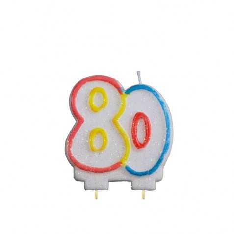 Bougie d'anniversaire 80 ans avec Chiffre 80