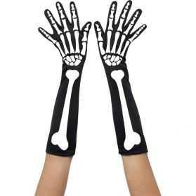 Gants longs avec motif squelette
