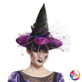 Chapeau de Sorcière avec fleur et tulle violet