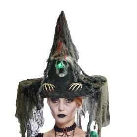 Chapeau de Sorcière avec Tête de Mort lumineuse