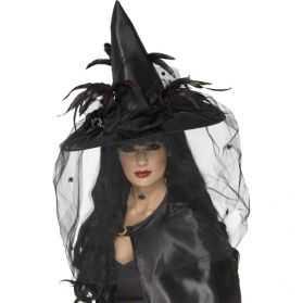 Chapeau de Sorcière noir à plumes et filet