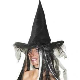 Chapeau de Sorcière en tulle et plumes noires