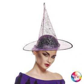 Chapeau Sorcière violet à paillettes