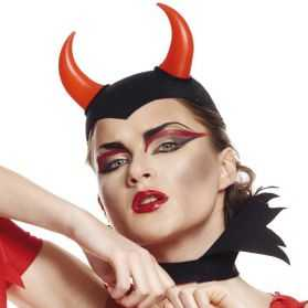 Coiffe de Démon noire avec cornes rouges
