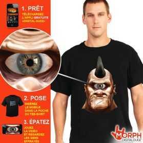 Tee shirt digital animé Œil de cyclop avec oeil qui bouge taille L