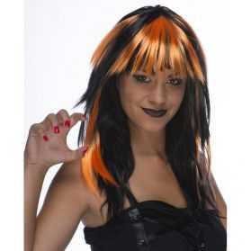Perruque Halloween avec cheveux noirs et oranges