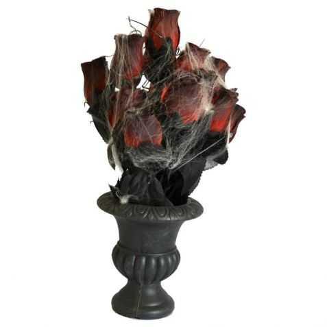 Vase gothique avec roses et toile d'araignée