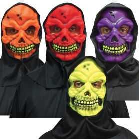 Masque Tête de Squelette fluo avec cagoule