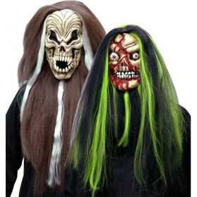Masque halloween avec cheveux bicolores