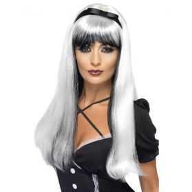 Perruque de Sorcière avec longs cheveux noirs et gris avec noeud