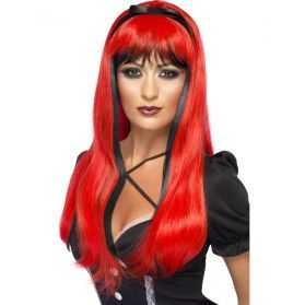 Perruque de Sorcière avec longs cheveux noirs et rouges avec noeud