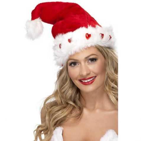 Bonnet de Père Noel avec petits cœurs lumineux