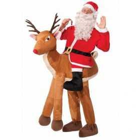 Déguisement de Père Noel sur son renne