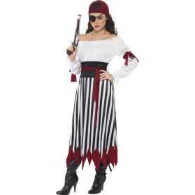 Déguisement rayé noir et blanc Pirate femme