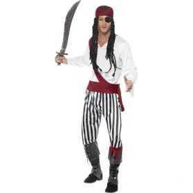Déguisement rayé noir et blanc Pirate homme