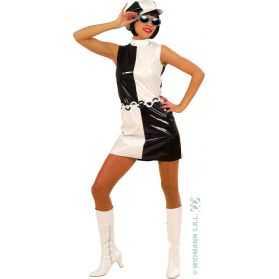 Déguisement Robe vinyle moulante des années 60 à grands carreaux blancs et noirs