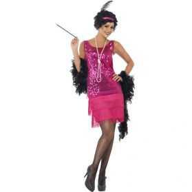 Déguisement Robe fushia à paillettes de Danseuse de Charleston femme
