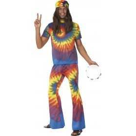 Déguisement bariolé Hippie homme taille M