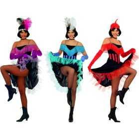 1 Déguisement Danseuse de French Cancan (rouge, rose ou bleu)