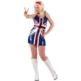 Déguisement robe à paillettes pour soirée Grande Bretagne taille M