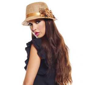 Chapeau femme année 20 marron avec tulle