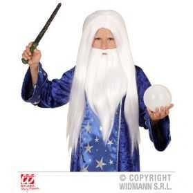 Perruque enfant pour se déguiser en Magicien avec barbe