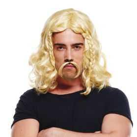 Perruque petit gaulois blond avec moustache