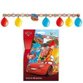 6 ballons de baudruche Cars + 1 guirlande