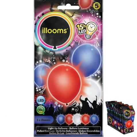 5 ballons lumineux bleu blanc rouge