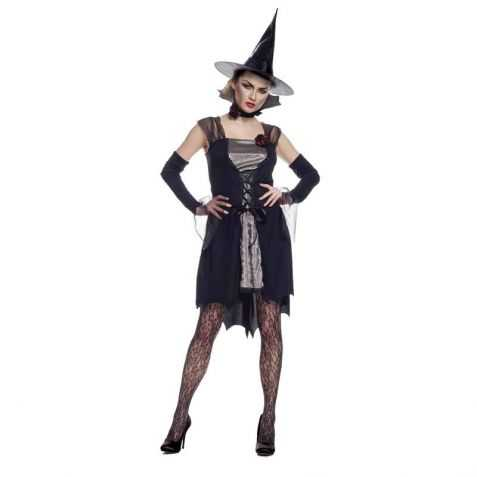 robe noire de sorci re adulte vente costume halloween femme. Black Bedroom Furniture Sets. Home Design Ideas