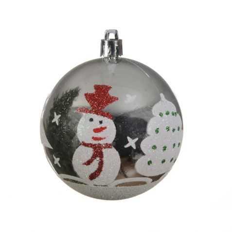 Boule de Noel avec motif Bonhomme de Neige