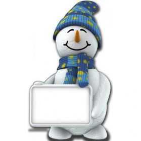 Figurine Bonhomme de Neige géant avec pancarte