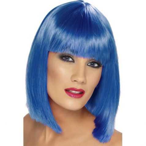 Perruque femme cheveux bleus