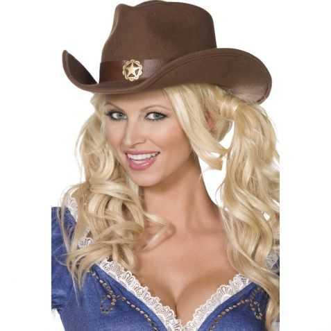 Chapeau cowgirl marron