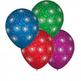 100 Ballons Feu d'Artifices multicolores