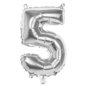 Petit ballon Chiffre 5 Argenté hauteur 36cm