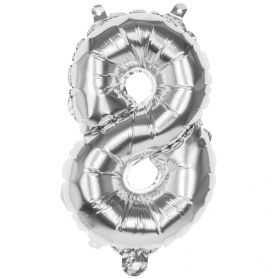 Petit ballon Chiffre 8 Argenté hauteur 36cm