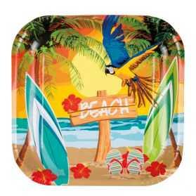 6 Assiettes carton thème Tropiques