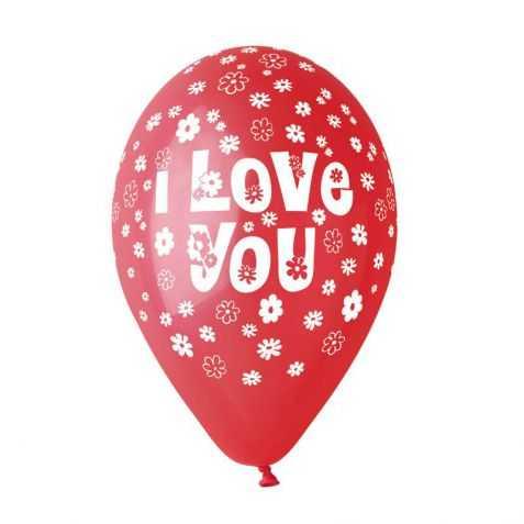 100 Ballons Rouges avec imprimé Love