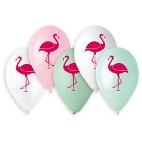 5 ballons gonflables Flamant Rose