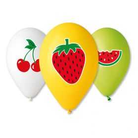 5 ballons gonflables Fruits