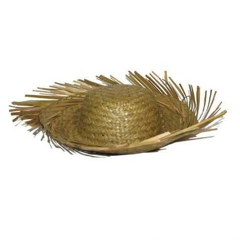 Chapeau de paille naturelle à franges